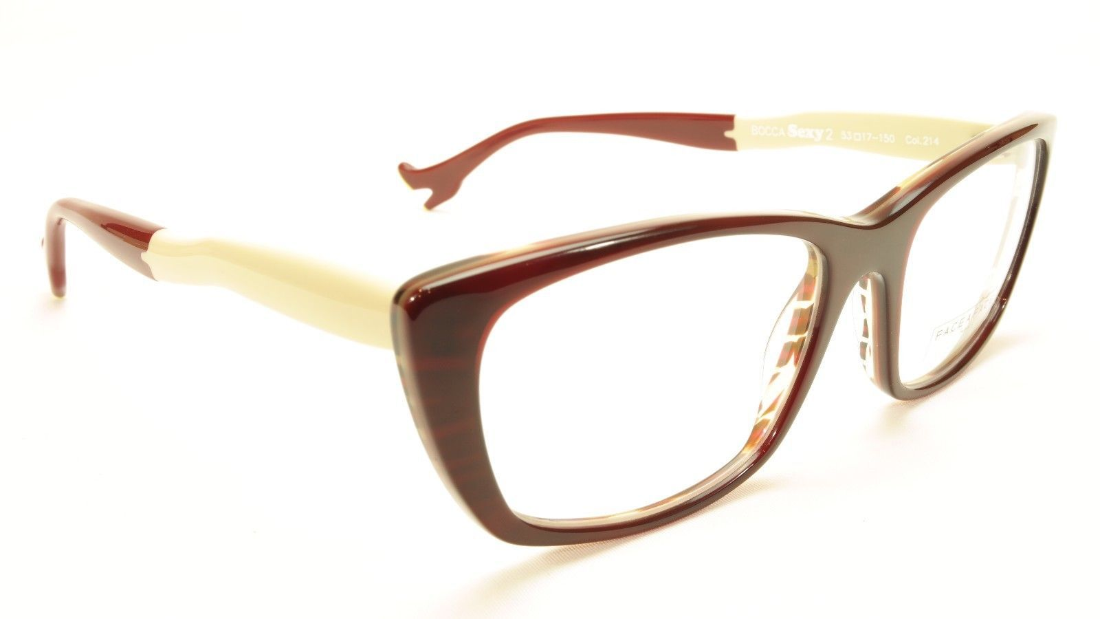 Authentic Face A Face Bocca Sexy 2 Col 214 Dark Red Tortoise Vanilla Eyeglasses