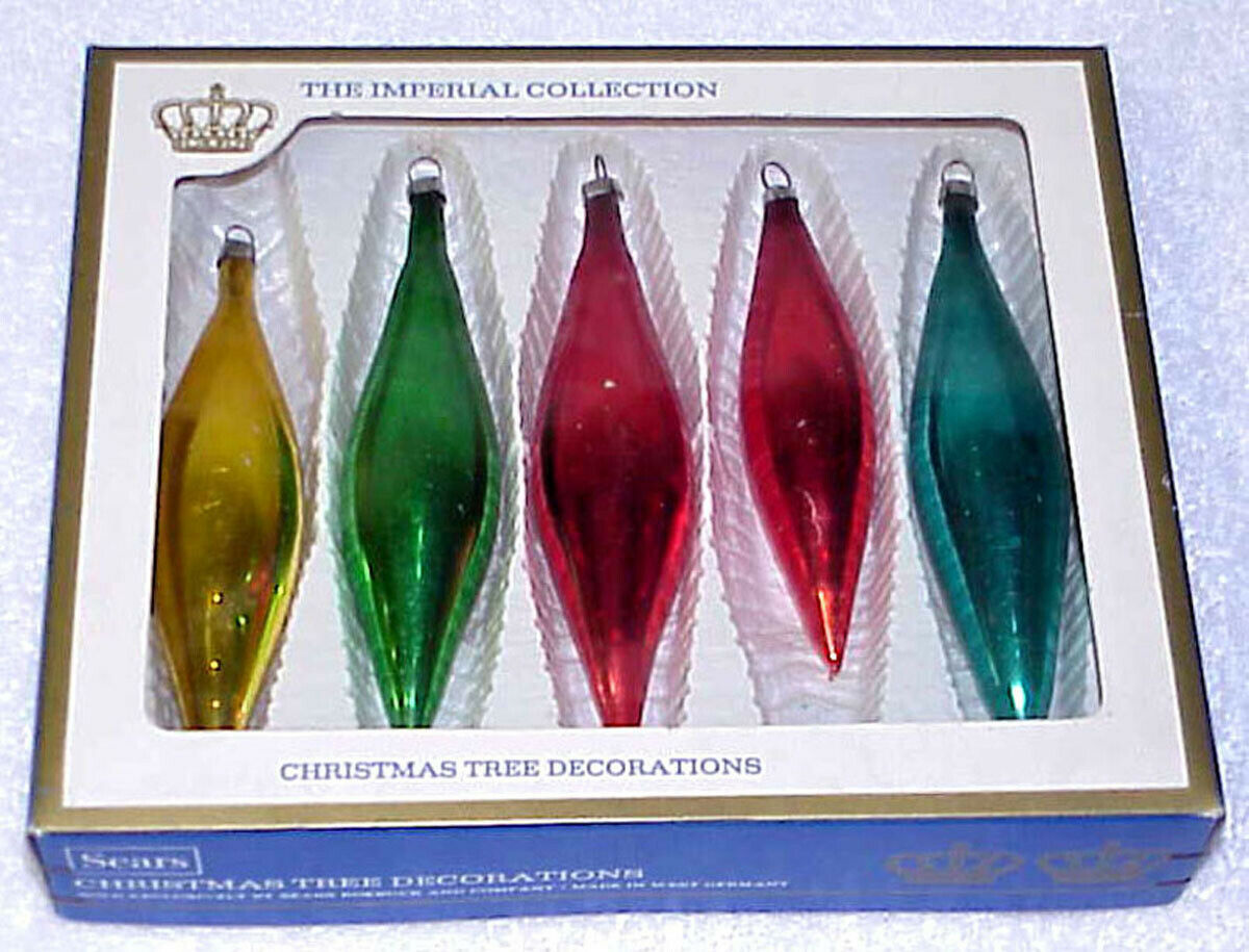 Primary image for THE IMPERIAL COLLECTION - 5 Vintage Glass Christmas Ornaments - West Germany IOB