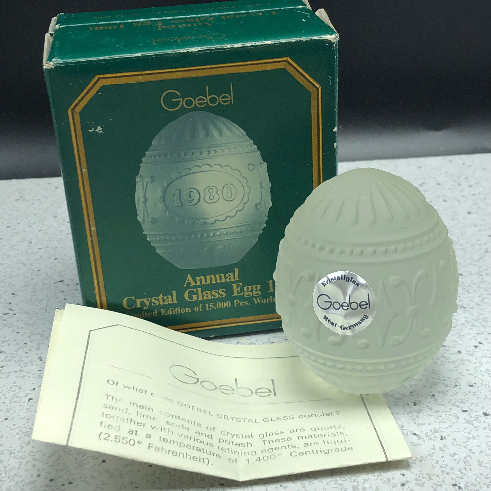 1980 GOEBEL GLASS CRYSTAL ANNUAL EASTER EGG figurine limited edition D5980 box