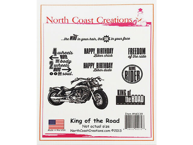 North Coast Creations King of the Road Rubber Cling Stamp Set #NCC39