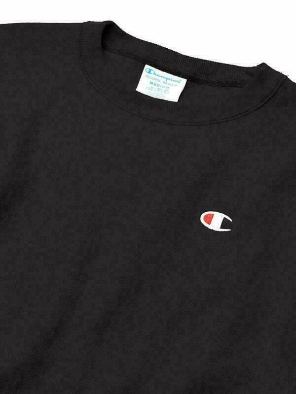 Champion Life Reverse Weave Sweatshirt Black Men's Medium Crew Neck Long Sleeve image 3