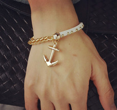 Plated gold filled leather rope chain anchor charm bracelets gift - $4.40