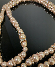 Vintage Givenchy Long Faux Pearl & Crystal Necklace  image 2