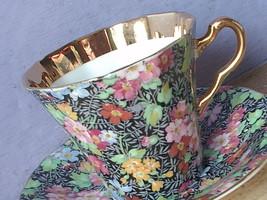 Vintage 1950's Black English Bone china pink rose chintz tea cup teacup - $48.51