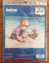 Janlynn Cross Stitch Kit Seashore Fun Boy on Beach Bear Boat 029-0057 (23) - $18.33