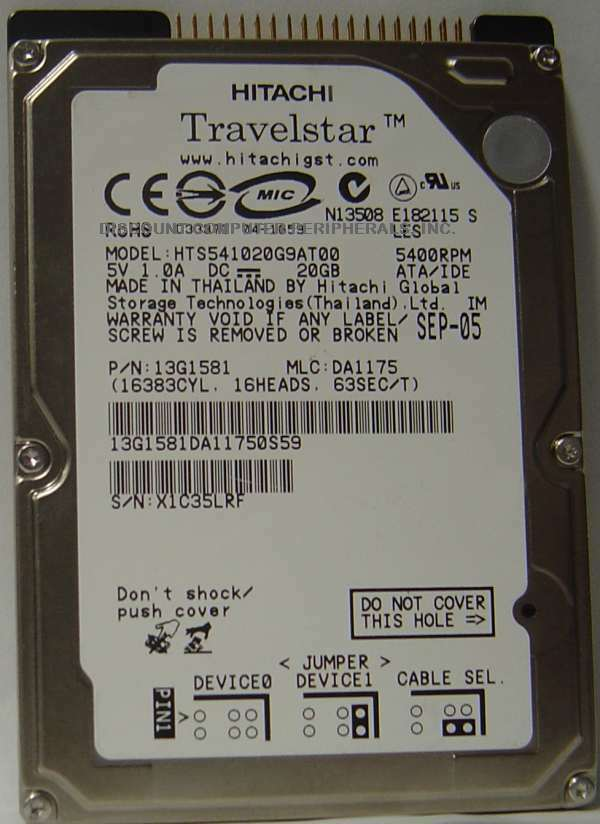 Hitachi HTS541020G9AT00 20GB IDE 44PIN 2.5in 9.5MM drive Tested Free USA Ship