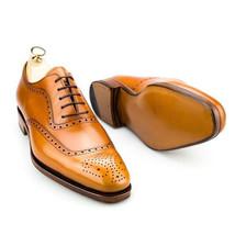 Handmade Men's Tan Heart Medallion Dress/Formal Leather Shoes image 3