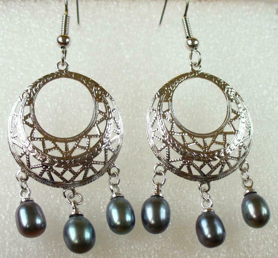 Womens Hook Long Dangle Chandelier Earrings Freshwater Pearl White Black Pink UK
