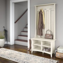Rustic White Wooden Hall Tree Coat Rack Hat Hooks Storage Stand Entryway... - $203.84