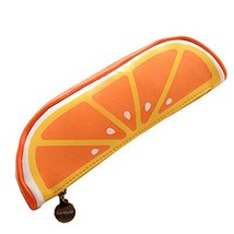 Creative Fruit Pen Bag Pencil Case Stationery Bag Cosmetic Bag, Orange - £8.87 GBP