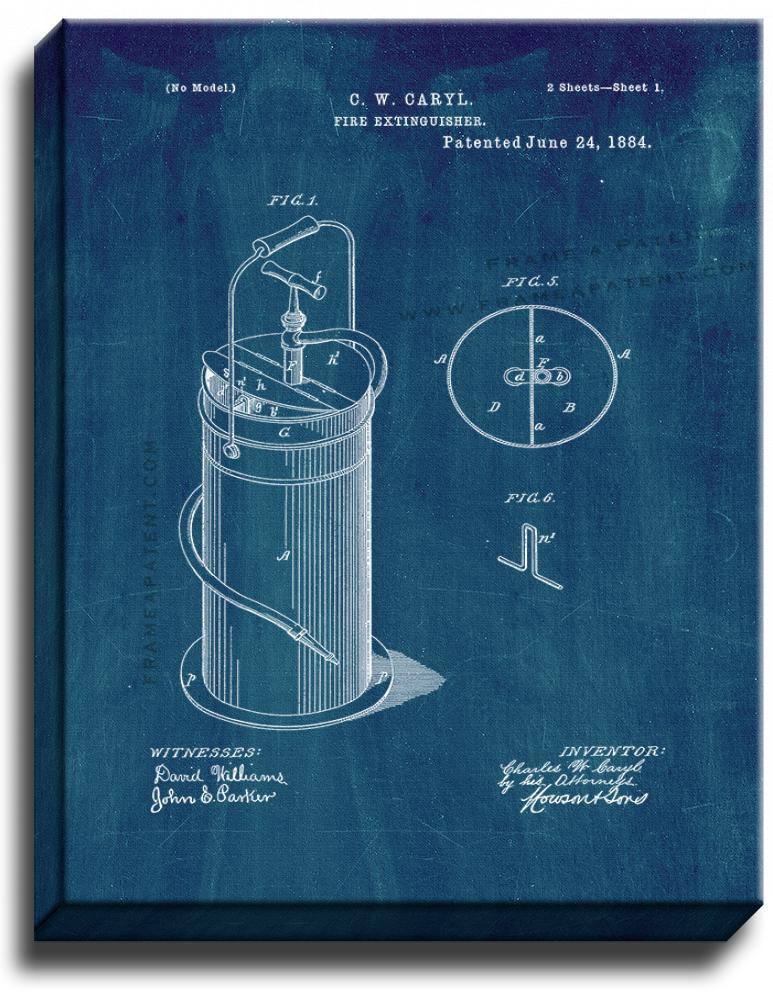 Primary image for Fire Extinguisher Patent Print Midnight Blue on Canvas
