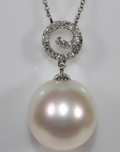Huge 16mm Pearl & Diamond Necklace in 14K White Gold - $895.00
