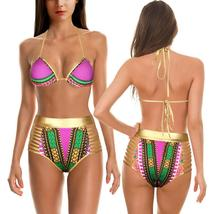 Women's Push Up Padded High Waist Ethnic Print Bikini Swimwear Set image 10