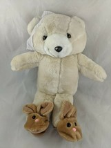 "Enesco Bear Plush 14"" Nightcap Bunny Slippers Stuffed Animal Toy - $29.95"