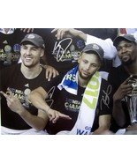 STEPHEN CURRY DURANT KLAY TRIPLE SIGNED AUTOGRAPHED 16x20 PHOTO WARRIORS... - $649.99
