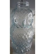 VINTAGE BLOOMINGDALE GLASS WISE OLD OWL JAR / PIGGY BANK - BLUE - $166.25