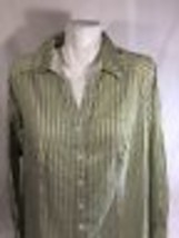 Lane Bryant Women Button Up Dress Shirt Long Sleeve Yellow Green strippe... - $15.90