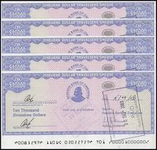 Zimbabwe 10,000 Dollars Cheque Amount Field X 5 Pieces PCS,2003, USED - $9.99