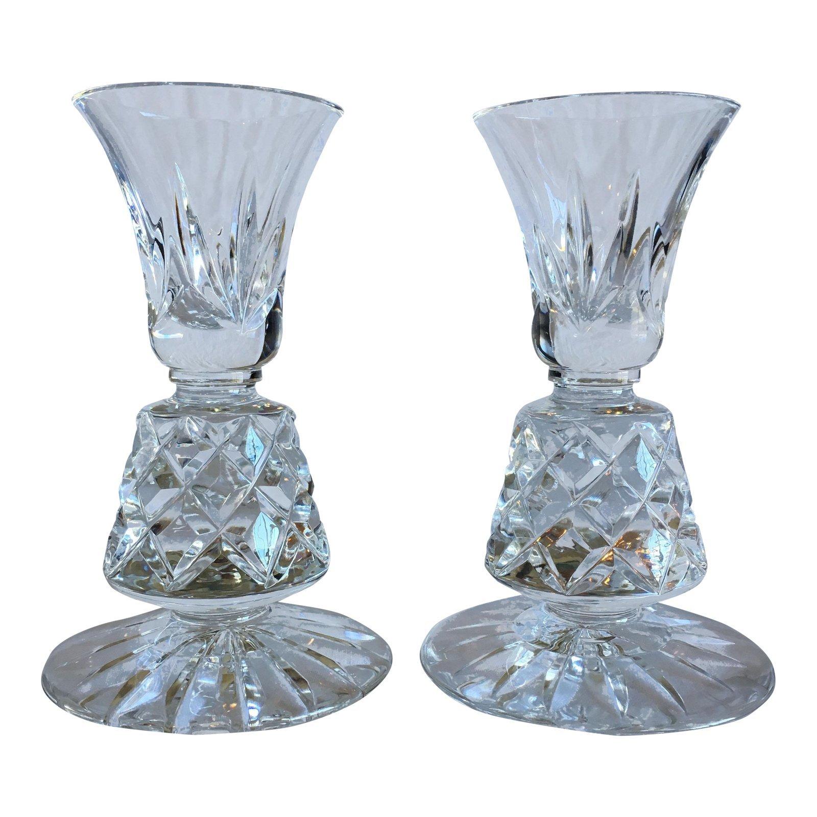 Vintage crystal candle holders lenox charleston pattern a pair 4910 1
