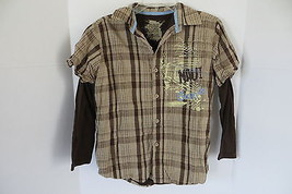 Boy's Maui and Sons Brown Plaid Layered Shirt Size M - $5.89