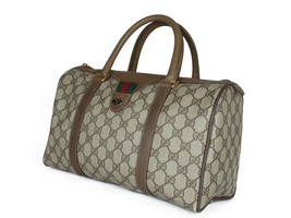 GUCCI Vintage GG Pattern PVC Canvas Leather Browns Hand Bag GH2248 - $319.00