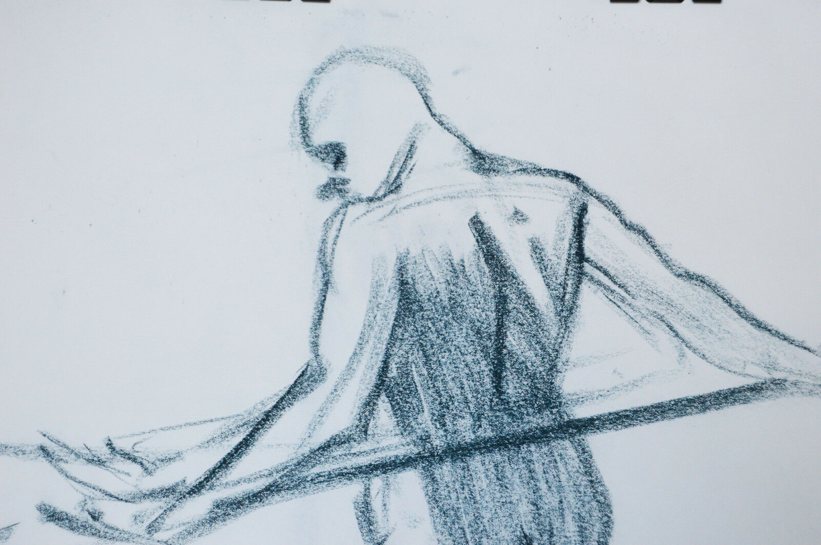 "17"" Vintage Drawing Pastels Sketch Nude Man Stretching II Body Naked Pose image 2"