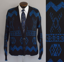Vintage 80s Mens Cardigan Sweater Button Front Tribal Print Size Large t... - $64.99