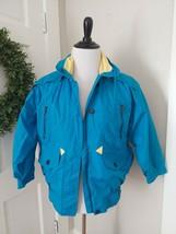 London Fog Vintage Coat Jacket w Hood Small Colorblock Blue Yellow 80's ... - $49.49
