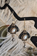 Artisan Crafted Gold Filled Silver Brass Black Enamel Pearl Drop Dangle ... - $25.64