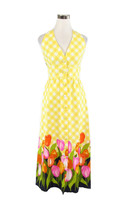 Yellow gingham ELFRIEDE FOR TWIGGS cotton sleeveless vintage maxi dress 8 - $79.99