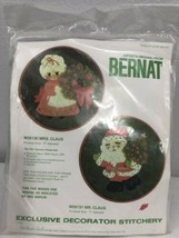 Vtg Bernat Mr Claus & Mrs. Claus Christmas Crewel Embroidery Kit Stitchery - $29.69