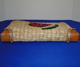 Michael Kors Malibu Watermelon Woven Straw XL Zip Clutch image 5