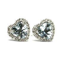 18K WHITE GOLD LOVE HEART EARRINGS AQUAMARINE WITH DIAMONDS FRAME, DIAMETER 9 MM image 3