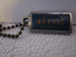 1963 Vintage Disabled Veterans Mini License Plate Key Chain Tags INDIANA - $6.62