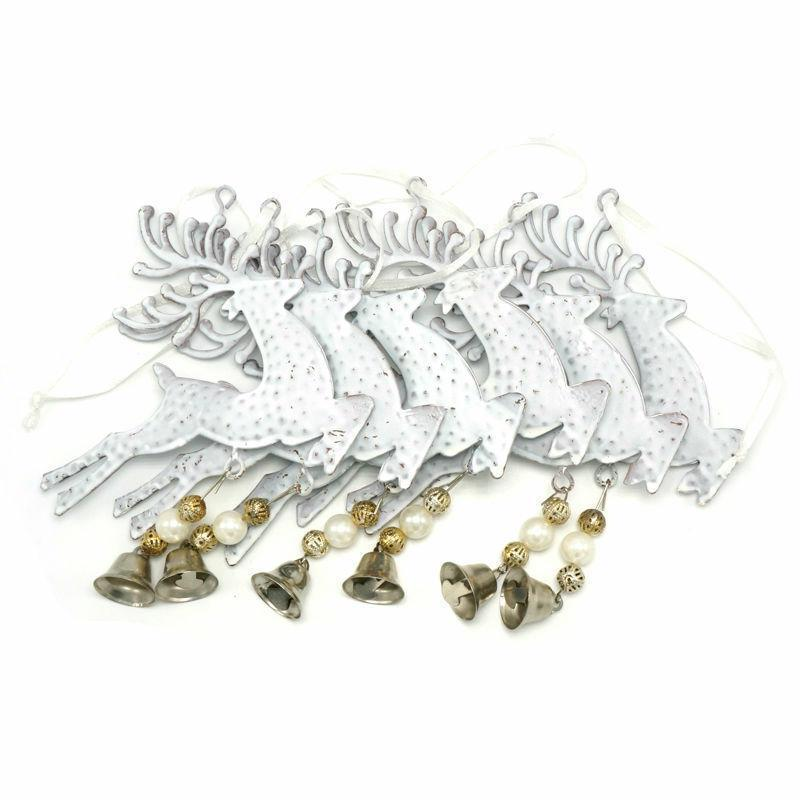 Christmas Decor Wall Hanging Metal Reindeer White Bell Xmas Tree Home Decoration