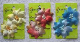 2 Goody Blossoming Beauty Tie Dye Flower Bobby Slide Hair Pins Metal Bob... - $10.00