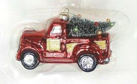 2ct Handcrafted Glass Christmas Ornament Set Red Truck and Trailer - Wondershop image 4