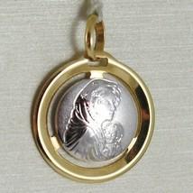 Pendentif Médaille or Jaune Blanc 750 18K, Madone et Christ, Marie et Jésus image 1