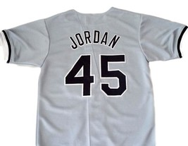 Michael Jordan #45 Birmingham Barons Button Down Baseball Jersey Grey Any Size image 5