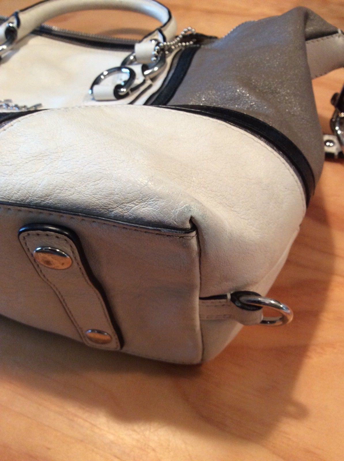 d8c53a5fcf ... women Coach Ashley Leather Cream brown Satchel Shoulder Bag Handbag Med  ...