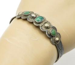 NAVAJO 925 Silver - Vintage Antique Malachite Dark Tone Cuff Bracelet - ... - $38.72