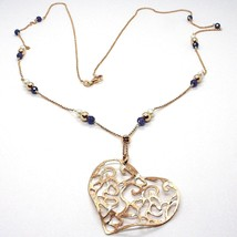 Necklace Silver 925 Pink, Pearls, Heart Pendant, Milled Satin, 75 CM - $136.32