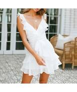 White V neck sexy ruffle wrap boho short women dress mini spring summer ... - $42.00