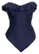 J Crew Women's Ruffle Underwire One Piece Swimsuit Bathing Suit Navy Sz ... - $27.59
