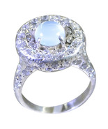 Genuine Natural Design Blue Chalcedony Round Shape 925  Silver Ring  UBC... - €30,23 EUR