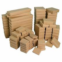 TkGear11 Lots of 25~50~100 Kraft Cotton Filled Gift Boxes Jewelry Cardbo... - $37.62