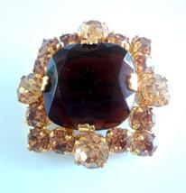 Vintage Shades of Amber Rhinestone Brooch - $19.00