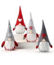 Santa Gnome Bean Bag Table Shelf Decor Light Up Bulbous Nose Red Grey Set of 4