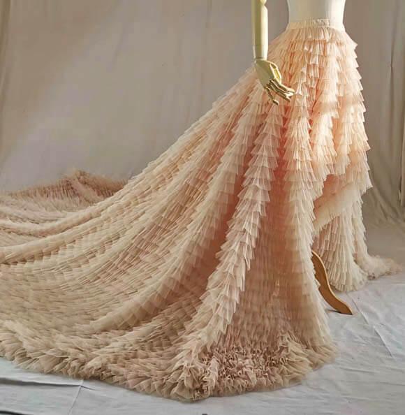 White bridal skirt tiered 4