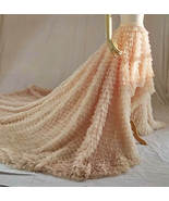 High Low Tulle Skirt Wedding Bridal Tiered Tulle skirt Champagne Tulle B... - $169.99